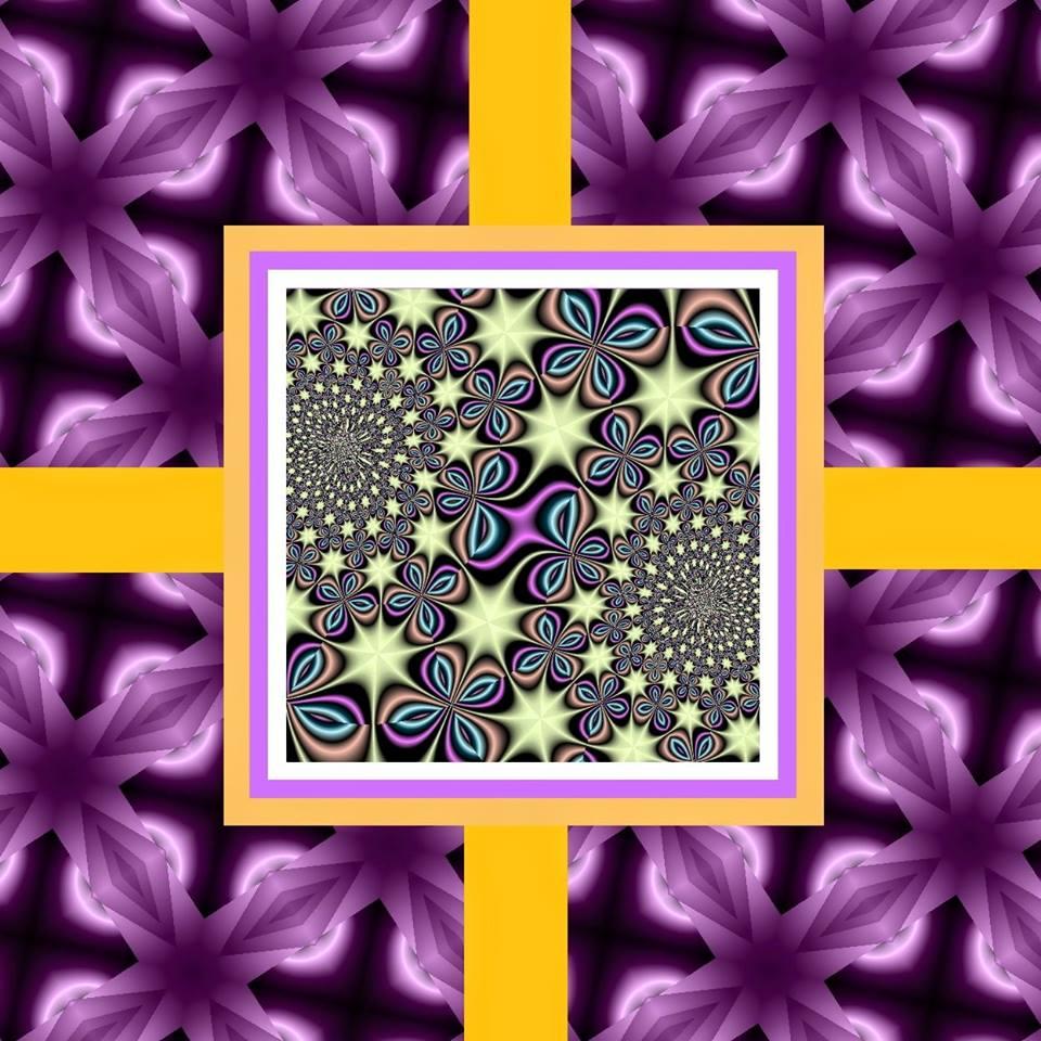 quadrat auf kreuz lila